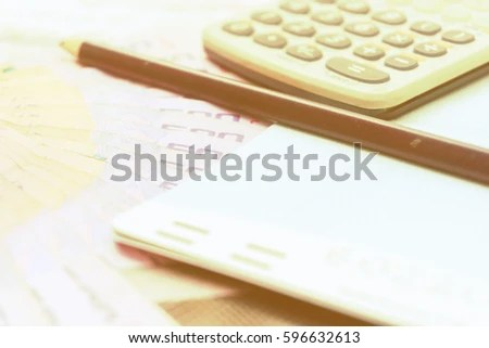 Thai Money Calculator Savings Account Passbook Stock Photo (Edit Now