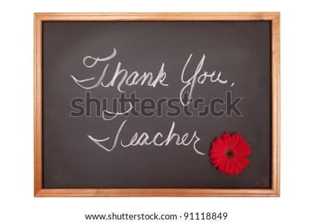 Thank You Teacher Message On Chalkboard Stock Photo (Edit Now
