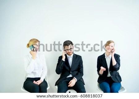 Three Candidates Preparing Job Interview Stock Photo (Edit Now