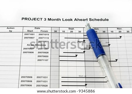 Time Schedule Look Ahead Graph Project Stock Photo (Edit Now