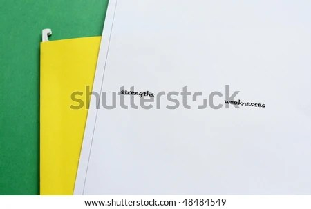 White Paper Resume List Strengths Weaknesses Stock Photo (Edit Now