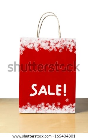 Winter Christmas Sale Shopping Bag Red Stock Photo (Edit Now