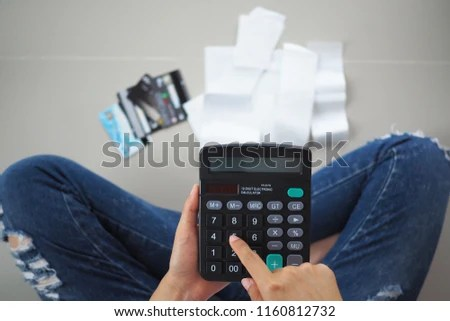 Women Sit Stressed Calculator Calculates Receipts Stock Photo (Edit