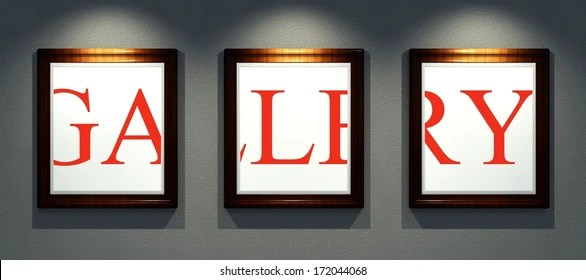 Word Art in frames of images on wall gallery interior EZ Canvas
