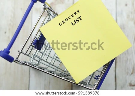 Word GROCERY LIST Written On Yellow Stock Photo (Edit Now) 591389378