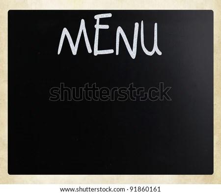 Word Menu Handwritten White Chalk On Stock Photo (Edit Now) 91860161