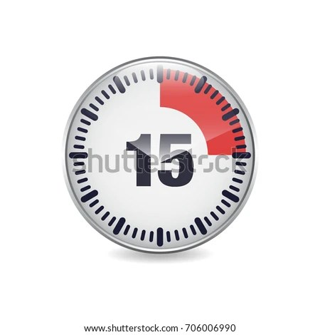 15 Minutes Time Break Circular Button Stock Vector (Royalty Free