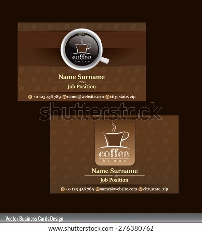 2 Set Coffee Business Card Template Stock Vector (Royalty Free