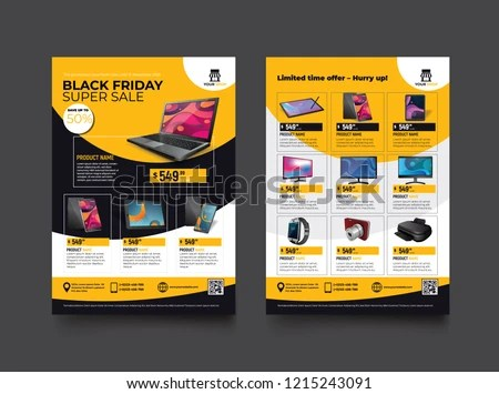 2 Sides Flyer Template Black Friday Stock Vector (Royalty Free