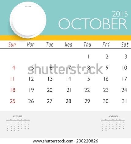2015 Calendar Monthly Calendar Template October Stock Vector