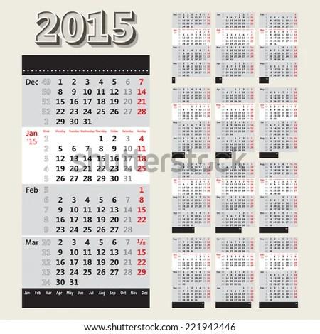 2015 European Style Calendar Grid Week Stock Vector (Royalty Free