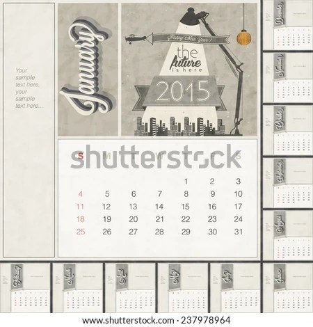2015 Monthly Calendar Template Free Space Stock Vector (Royalty Free