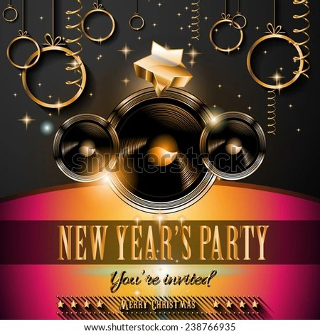2015 New Years Party Flyer Design Stock Vector (Royalty Free