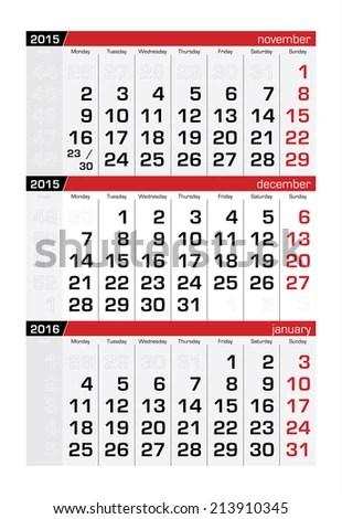2015 Three Month Calendar December Stock Vector (Royalty Free