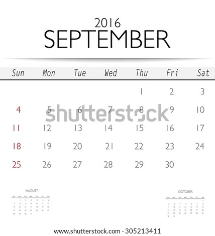2016 Calendar Monthly Calendar Template September Stock Vector
