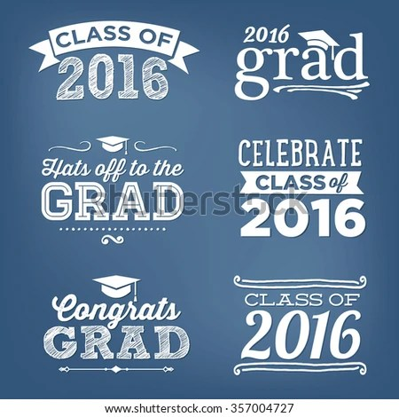 2016 Graduation Vector Set Hats Off Stock Vector (Royalty Free