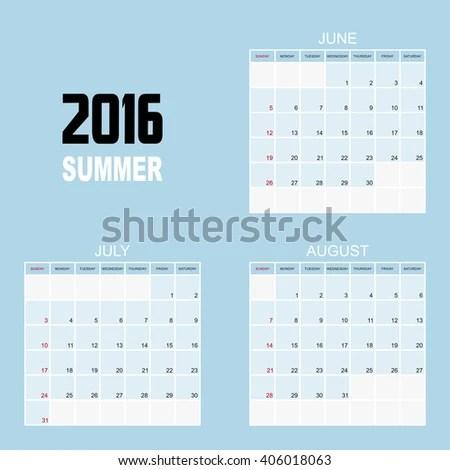 2016 SUMMER Calendar Planner Design Stock Vector (Royalty Free