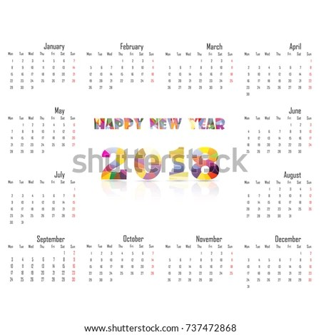 2018 Calendar Template Calendar 2018 Year Vector Design Stock Vector