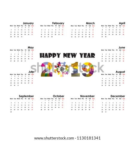 2019 Calendar Template Starts Monday Yearly Calendar Vector Stock