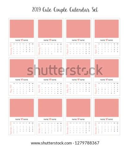 2019 Couple Calendar Cute Romantic Tiny Stock Vector (Royalty Free