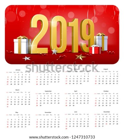 2019 Happy New Year Calendar Background Stock Vector (Royalty Free