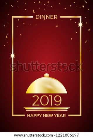 2019 New Years Eve Dinner Template Stock Vector (Royalty Free