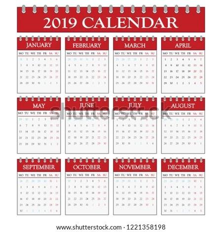 2019 Office Calendar Stock Vector (Royalty Free) 1221358198