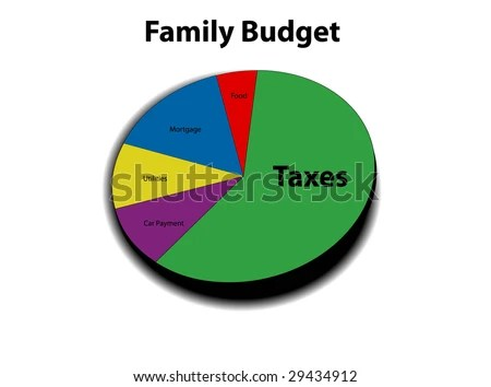 3 D Pie Graph Family Budget Taxes Stock Vector (Royalty Free