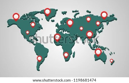 3 D World Map Pins GP Snavigator Travel Stock Vector (Royalty Free