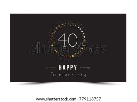 40 Years Happy Anniversary Card Template Stock Vector (Royalty Free