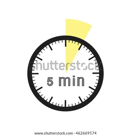 5 Minutes Timer Office Clock Yellow Stock Vector (Royalty Free
