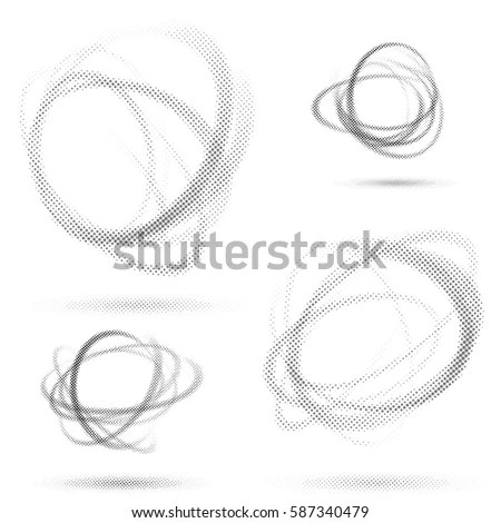 Abstract Dotted Orbit Swirl Abstract Patterns Stock Vector (Royalty