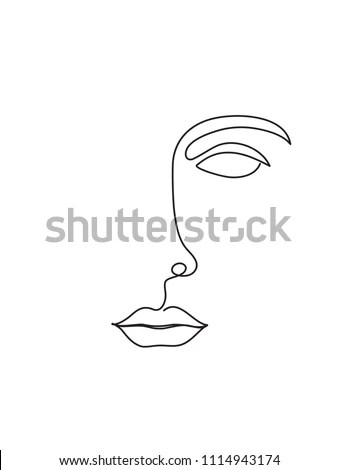 Abstract Face One Line Drawing Portrait Stock Vector (Royalty Free