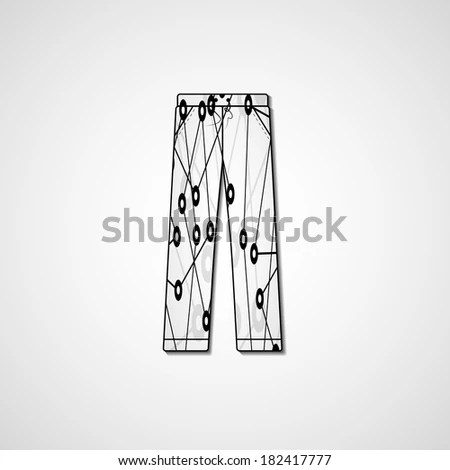 Abstract Illustration On Pants Template Editable Stock Vector