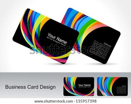 Abstract Rainbow Business Card Vector Illustration Stock Vector