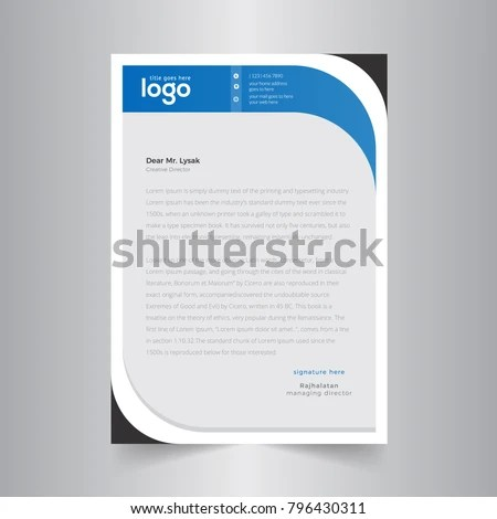Abstract Wave Business Letterhead Template Stock Vector (Royalty