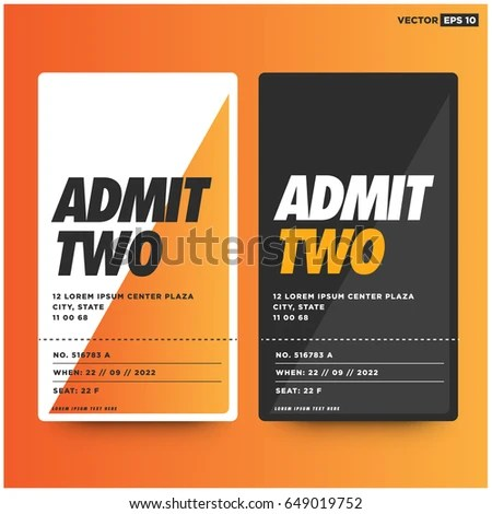 Admit Two Entrance Ticket Template Live Stock Vector (Royalty Free