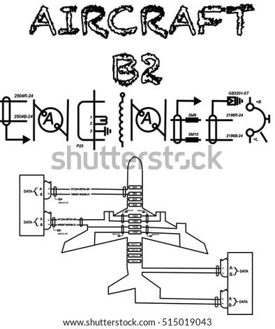 Aircraft B 2 Engineer Text Wiring Diagram Stock Vector (Royalty Free