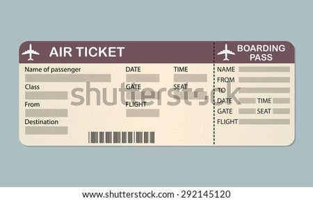 Airline Boarding Pass Ticket Template Detailed Stock Vector (Royalty