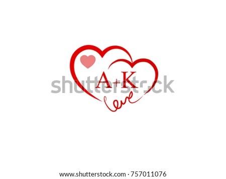 Ak Initial Wedding Invitation Love Logo