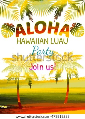 Aloha Hawaii Luau Party Invitation Leaves Stock Vector (Royalty Free