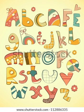 Alphabet Design Fun Doodle Style Letters Stock Vector (Royalty Free