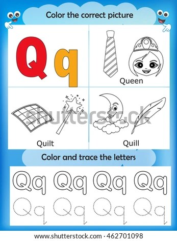 Alphabet Learning Letters Coloring Graphics Printable Stock Vector
