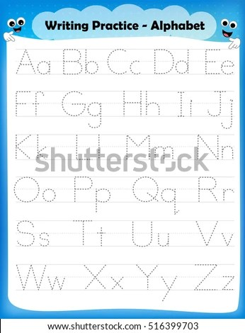 Alphabet Letters Tracing Worksheet All Alphabet Stock Vector