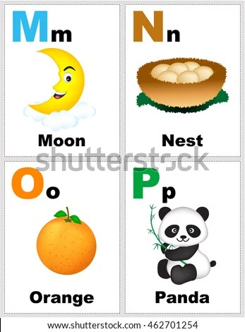 Alphabet Printable Flashcards Collection Letter M Stock Vector