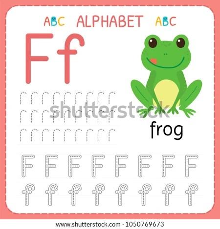 Alphabet Tracing Worksheet Preschool Kindergarten Writing Stock