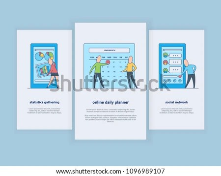 Analysis Organization Workflow On Vertical Banners Stock Vector