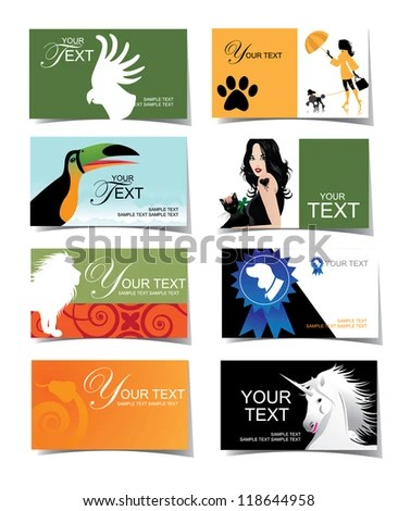 Animal Veterinary Business Card Icon Set Stock Vector (Royalty Free