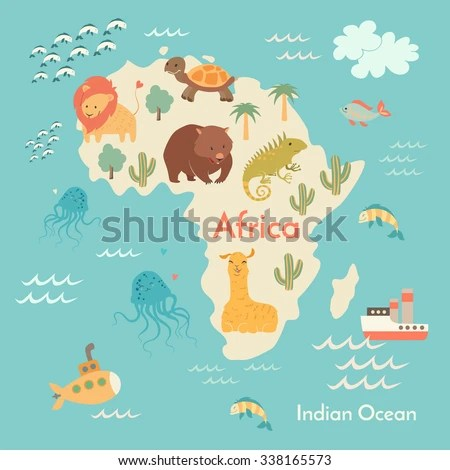 Animals World Map Africa Africa Map Stock Vector (Royalty Free