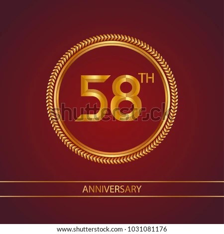 Anniversary Card Design Template Red Background Stock Vector